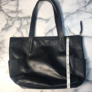 Black leather Fossil hobo bag